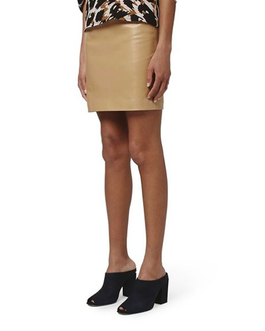 topshop leather pencil skirt in beige camel lyst