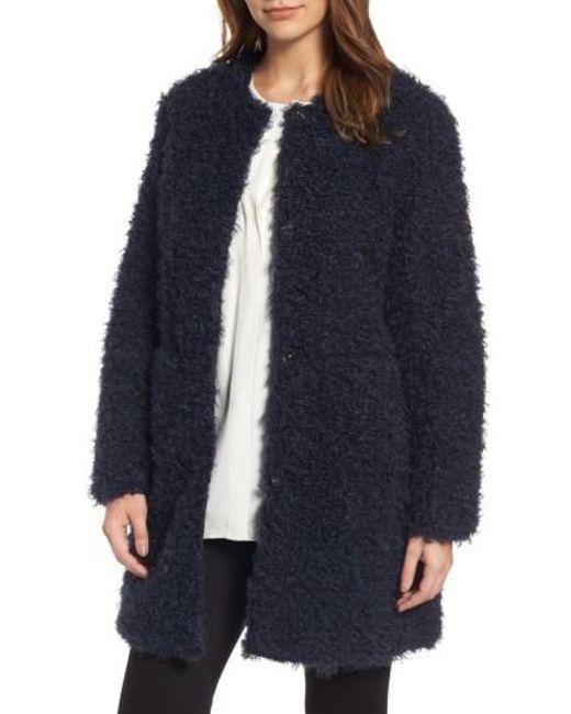 Via Spiga | Blue Reversible Faux Fur Coat | Lyst