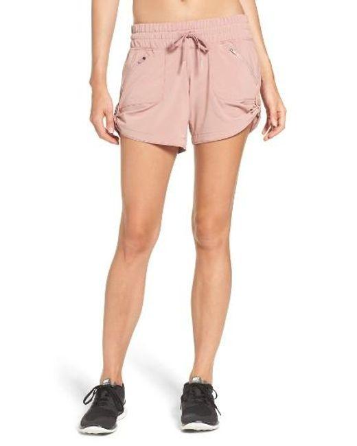 Zella   Pink Switchback Shorts   Lyst