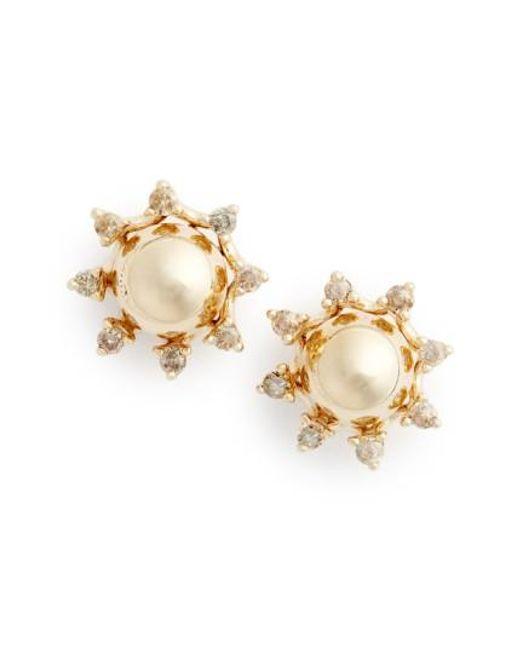Anna Sheffield | Metallic 'starlight' Champagne Diamond Stud Earrings | Lyst