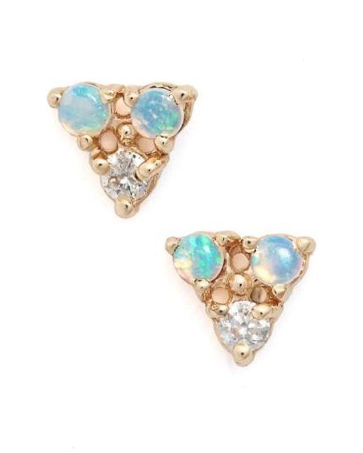 Wwake | Metallic Triangle Opal & Diamond Earrings | Lyst