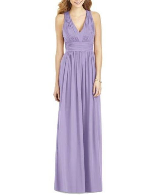 After Six   Purple Crisscross Back Ruched Chiffon V-neck Gown   Lyst