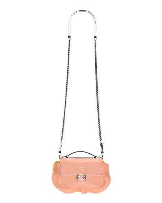 Fendi | Pink Micro Double Baguette Leather Cross-Body Bag | Lyst