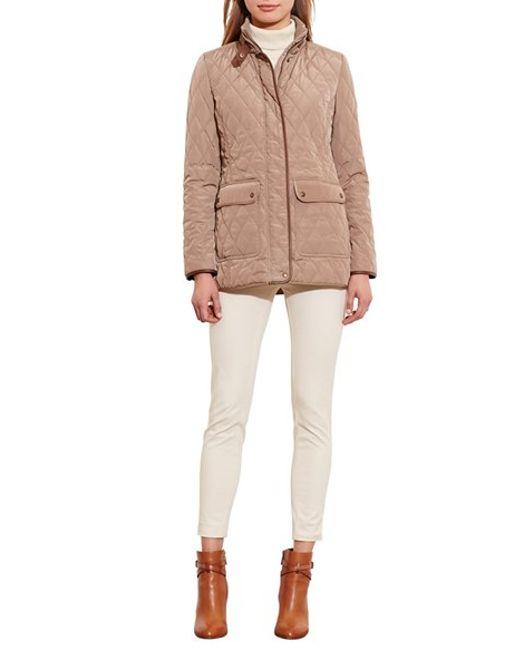 Lauren By Ralph Lauren Faux Leather Trim Quilted Jacket In