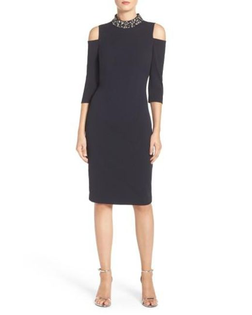 Eliza J | Blue Embellished Stretch Sheath Dress | Lyst
