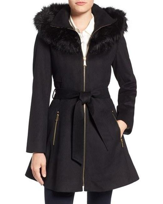 Laundry by Shelli Segal | Black Laundry By Shelly Segal Faux Fur Trim Wool Blend Fit & Flare Coat | Lyst