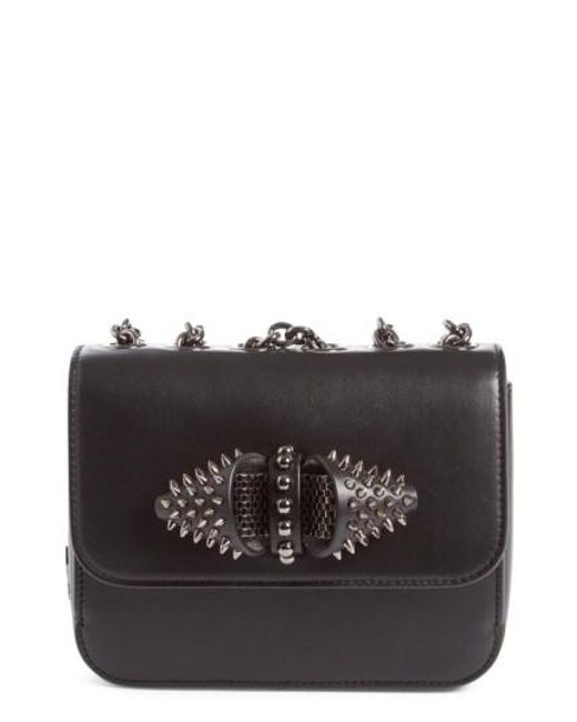 Christian Louboutin | Black 'small Sweet Charity' Spiked Calfskin Shoulder/crossbody Bag | Lyst