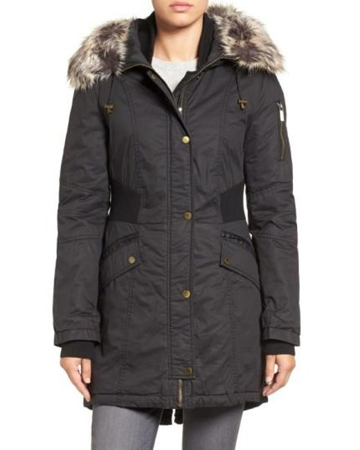French Connection | Black Mixed Media Parka With Faux Fur Trim Hood | Lyst