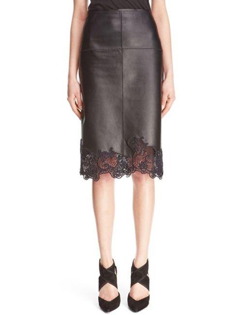 lanvin lace hem lambskin leather pencil skirt in black lyst