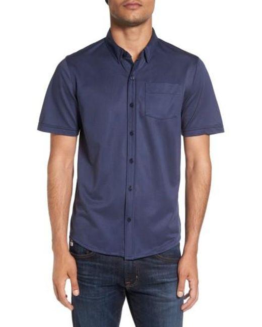 Travis Mathew | Blue Hines Slim Fit Wrinkle Resistant Sport Shirt for Men | Lyst