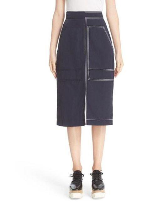 Stella McCartney | Blue Contrast Topstitch A-line Skirt | Lyst