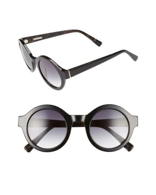 Derek Lam | Black 'luna' 47mm Round Sunglasses | Lyst