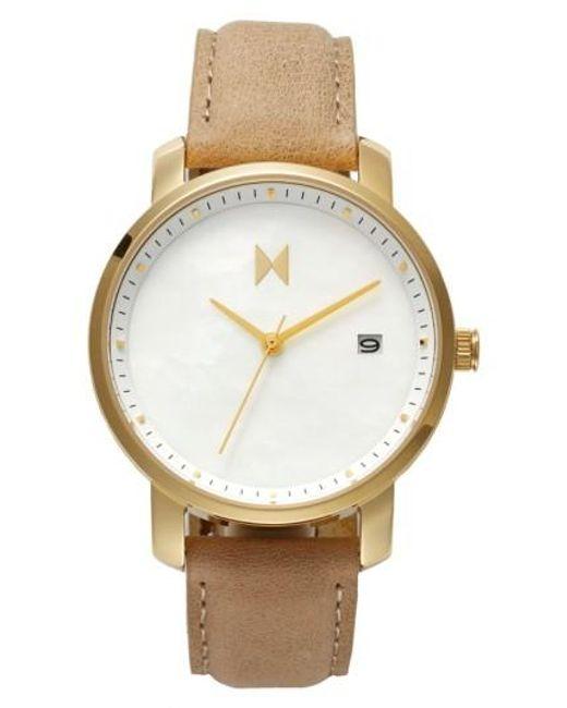 MVMT   Metallic Leather Strap Watch   Lyst