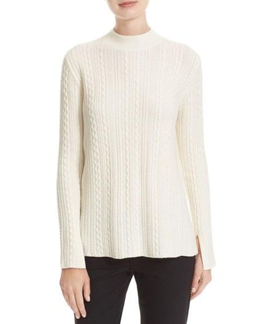 Theory | White Friselle Plumose Wool-Blend Mock Neck Sweater | Lyst
