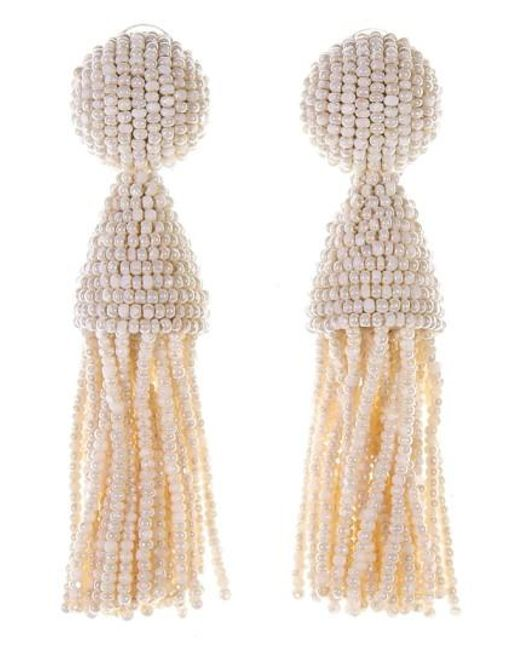 Oscar de la Renta | Metallic 'classic Short' Tassel Drop Earrings | Lyst