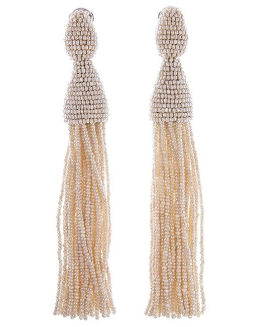 Oscar de la Renta | Multicolor Long Tassel Drop Earrings | Lyst