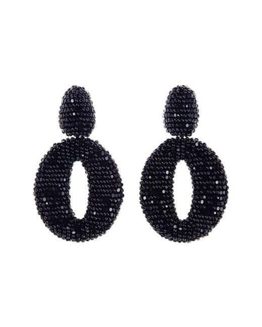 Oscar de la Renta | Black Beaded Frontal Hoop Earrings | Lyst