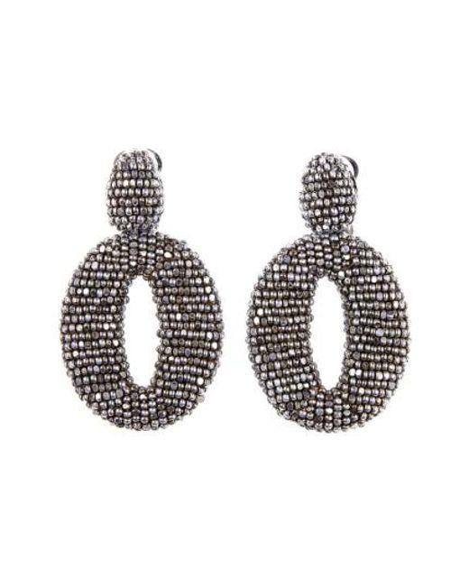 Oscar de la Renta | Black Beaded Frontal Hoop Earrings | Lyst