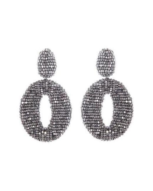 Oscar de la Renta | Metallic Beaded Frontal Hoop Earrings | Lyst