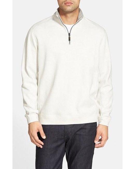 Tommy Bahama | White 'new Flip Side Pro' Reversible Quarter Zip Sweater for Men | Lyst