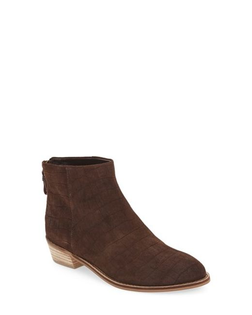 Kelsi Dagger Brooklyn | Brown 'cumberland' Croc Embossed Bootie | Lyst
