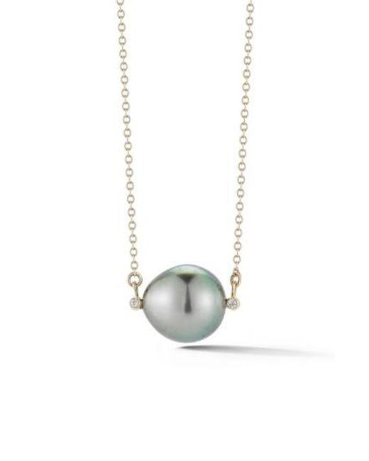 Mizuki | Metallic Pearl Pendant Necklace | Lyst