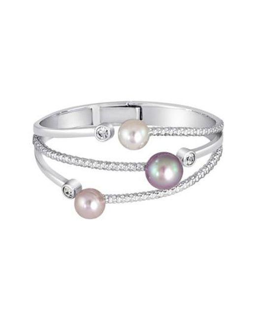Majorica   Multicolor Simulated Pearl & Cubic Zirconia Hinge Bracelet   Lyst