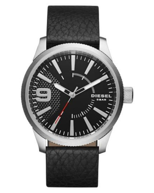 DIESEL | Black Diesel 'rasp' Leather Strap Watch for Men | Lyst