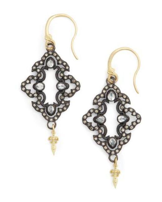 Armenta | Black Arementa Old World Open Scroll Drop Earrings | Lyst
