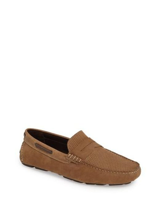 Johnston & Murphy | Brown Perforated Driving Loafer for Men | Lyst