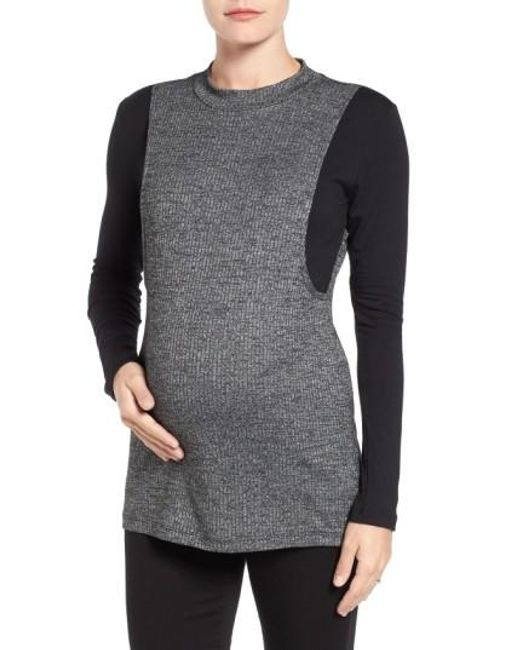 Lab40 | Gray 'brie' Colorblock Maternity/nursing Sweater | Lyst