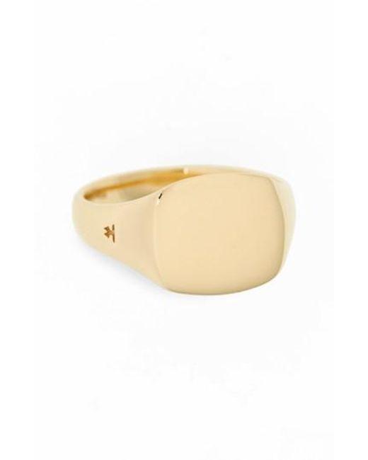 Tom Wood   Metallic Mini Gold Cushion Signet Ring   Lyst