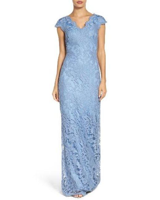 Tadashi Shoji   Blue Column Gown   Lyst