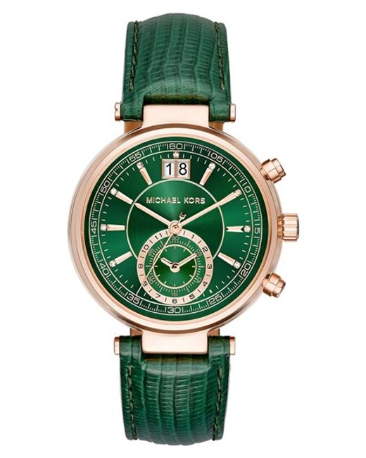 Michael Kors sawyer Leather Strap Watch In Green