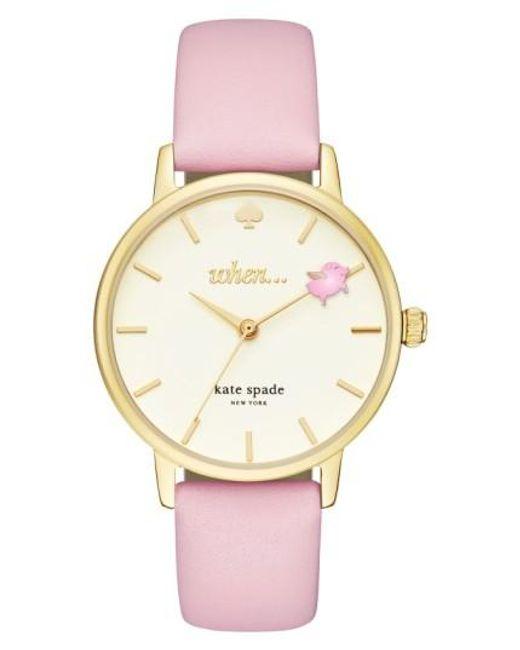 Kate Spade | Metallic Metro Round Leather Strap Watch | Lyst