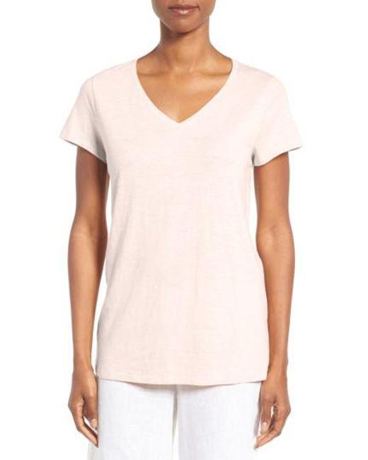 Lyst eileen fisher organic cotton v neck tee in blue for Eileen fisher organic cotton t shirt