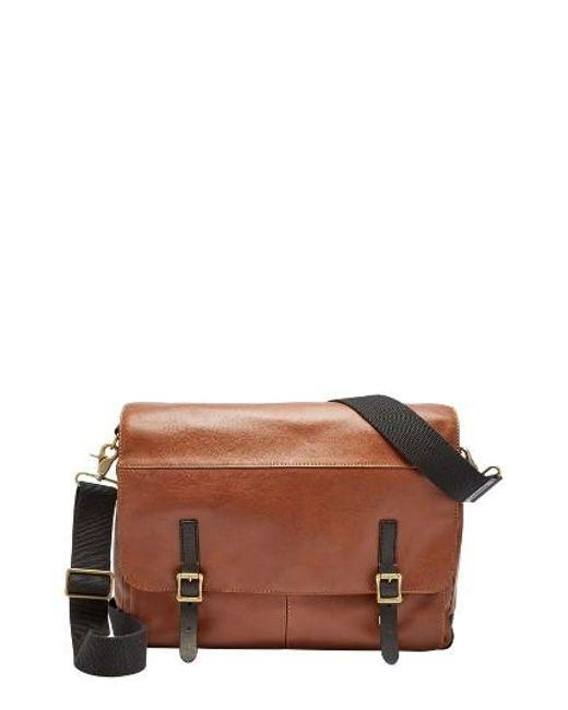 Fossil Defender Leather Messenger Bag - Metallic In Brown For Men   Lyst