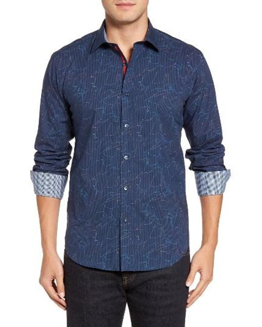 Bugatchi | Blue Shaped Fit Layered Print Sport Shirt for Men | Lyst