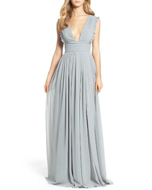 Monique Lhuillier Bridesmaids | Pink Deep V-neck Ruffle Pleat Chiffon Gown | Lyst