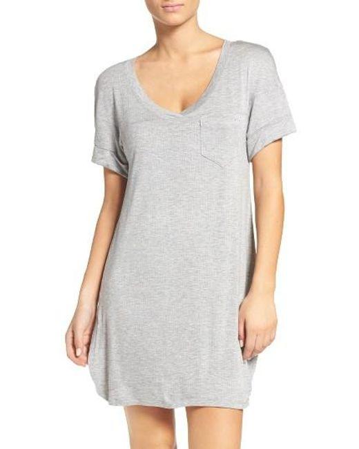 Honeydew Intimates   Gray Rib Sleep Shirt   Lyst