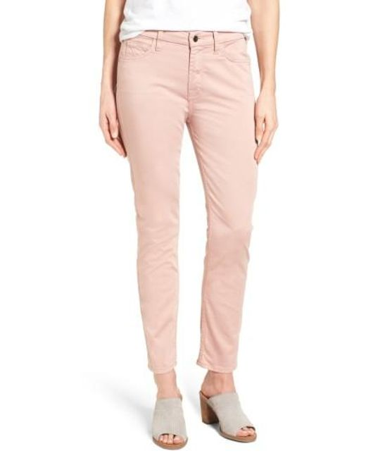 Jen7   Pink Colored Stretch Ankle Skinny Jeans   Lyst
