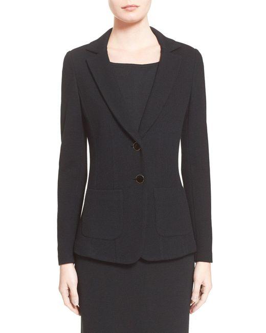 St. John - Blue Milano Pique Knit Jacket - Lyst