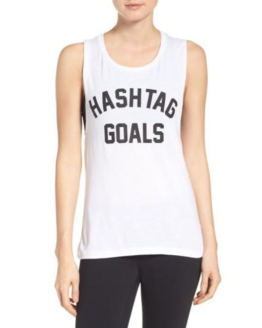 Private Party   White Hashtag Goals Tank   Lyst