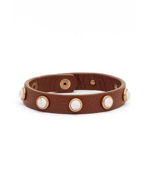 Treasure & Bond | Brown Semiprecious Cabochon Leather Bracelet | Lyst