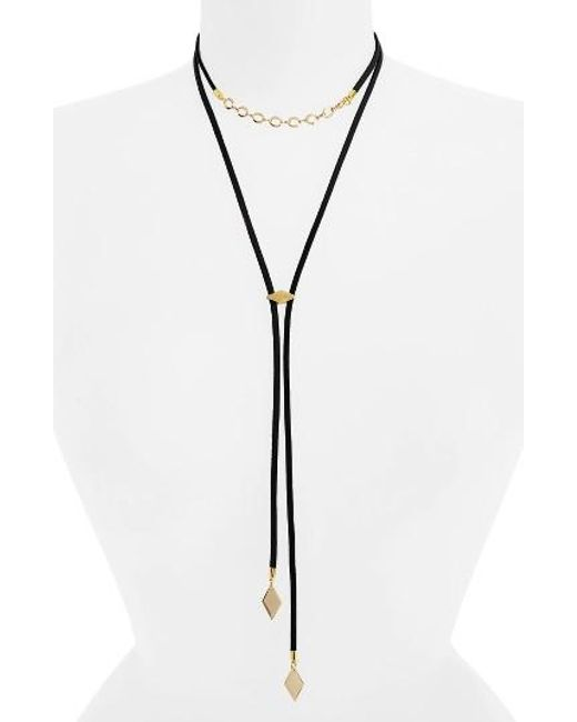 Vanessa Mooney | Black The Cicely Bolo Necklace | Lyst