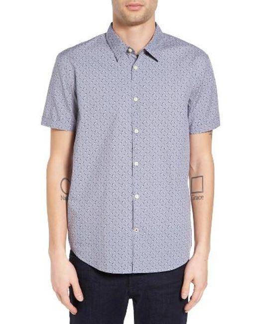 John Varvatos | Blue Mayfield Slim Fit Print Sport Shirt for Men | Lyst