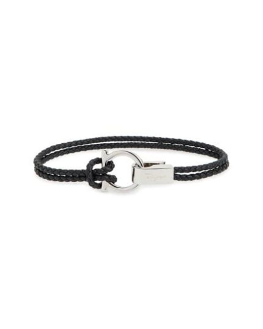 Ferragamo | Black Double Braided Gancini Leather Bracelet for Men | Lyst