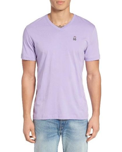 Psycho Bunny | Purple V-neck T-shirt for Men | Lyst