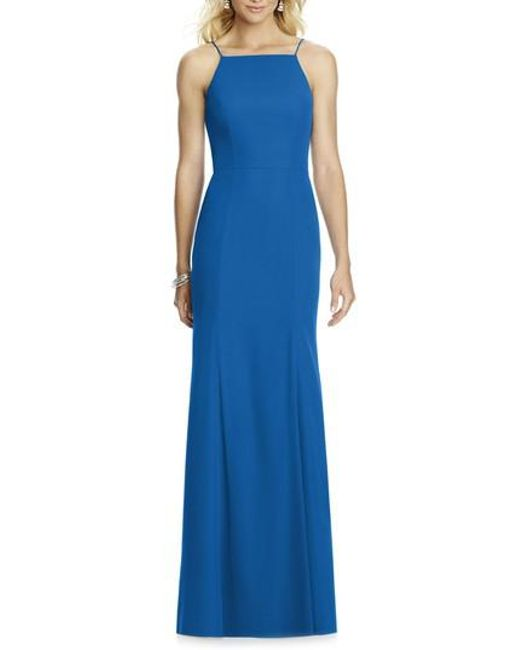 After Six | Blue Chiffon Trumpet Gown | Lyst