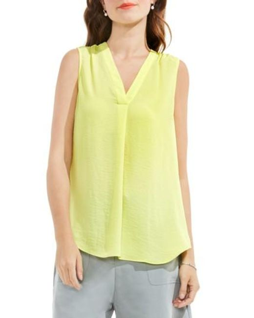 Vince Camuto | Yellow V-neck Rumple Blouse | Lyst